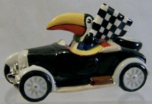 Carlton Ware Toucan in his Car - Flying The Winner's Flag - 9/25 - SOLD